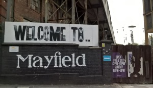 Mayfield Depot entrance, site of M.I.F. 10,000 Gestures show, a reclaimed railway warehouse (check out the floating figures)